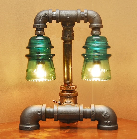 Industrial Style Pipe Lamp with Green Glass Insulators