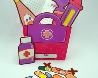 PURPLE & PINK Doctor's Kit - Printable Paper Toy Craft PDF by Paperholic