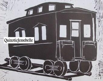 Linocut Train Caboose