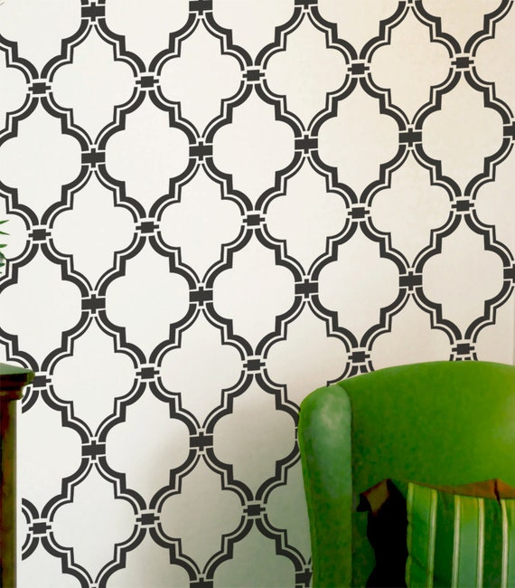 pochoir marocain allower motif mur chambre par omgstencils. Black Bedroom Furniture Sets. Home Design Ideas