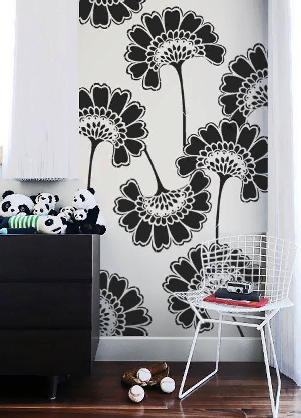 Wall stencil oriental asian large flowers pattern by omgstencils - Oriental stencils for walls ...