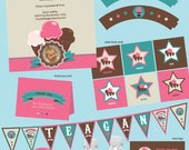 Ice Cream Birthday Party Printable Package. banner, invites, cupcake toppers, wrappers, food tents, thank you cards etc....