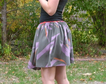 Grey and Purple Gathered Waist Skirt