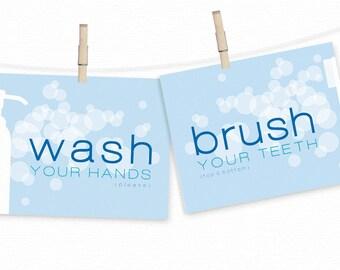 Bathroom Art - Bath Prints - WASH Your Hands Bathroom Art Decor - BRUSH Your Teeth Bathroom Prints SET - Toothbrush & Bubbles Bath Wall Art