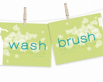 Bathroom Art Prints SET - WASH your hands & BRUSH your teeth - Lime Green or Blue Bathroom Prints - Toothbrush Bubbles - Fun Bath Wall Art