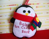 Baby's first Christmas penguin ornament/ decoration for Christmas made of felt