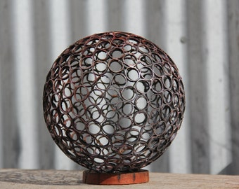 Medium 19 cm diameter, 19 mm copper ring ball, Copper sphere, Metal sculpture
