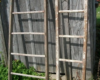 """Antique Wood Ladder with 5 Rungs - 60"""" long - Choose a Vintage Surface or Pick a Color"""