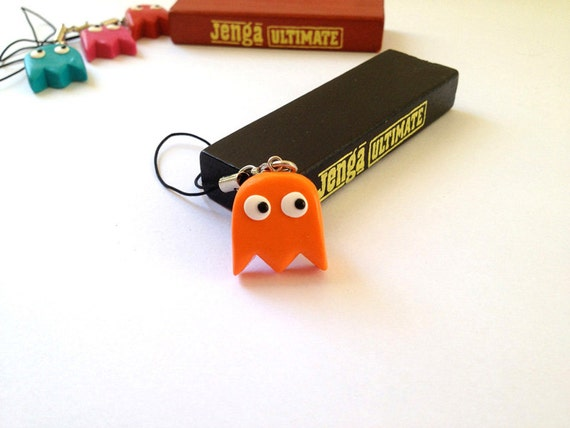 Clyde Orange Ghost Pac-Man Mobile Phone Charm/ Keychain - Polymer clay