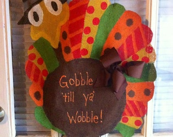 Burlap Turkey Door Hanger for Thanksgiving decorations