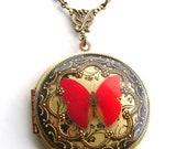 Red Butterfly Vintage Locket.Resin Locket Red Butterfly Locket Picture Locket Wedding Locket