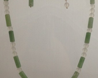 Green Aventurine and Frosted Quartz Jewellery Set - Genuine Gemstone - Necklace & Earrings