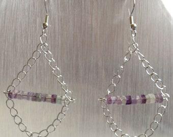 Fluorite Earrings - Genuine Gemstone