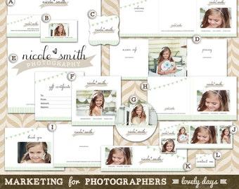 Photography Marketing Templates Branding Set for photographers and boutique business Logo Business Card Instant Download