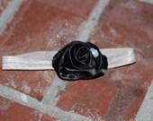 Infant-Adult black rosette vintage style headband