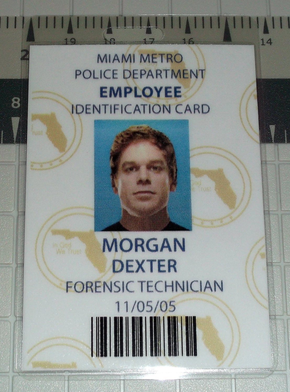 dexter morgan employee id badge forensics by unclejacksdesign