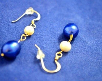 Culture Pearl Earrings, Cultured, All Metal Gold Filled   E198