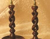 Antique English Twist Candlesticks