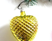 Vintage Christmas decor, glass ornament, shining gold, christmas gift - GrandpasTreasury