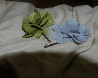 Green and Gray Floral Bobby Pins - Set of 4