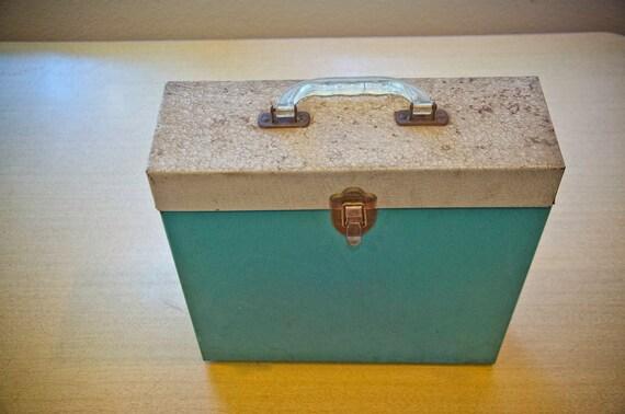 Vintage Metal Record Case Portable Lp Vinyl Holder Box
