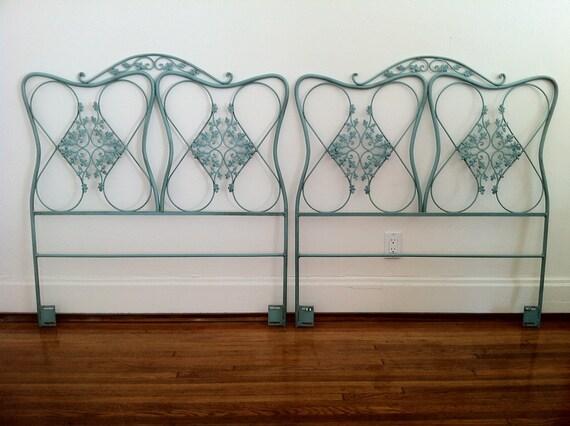 1940's 2 Art Nouveau cast iron, twin head boards with a beautiful  leaf motiff.
