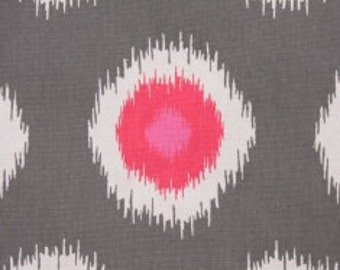 Handmade Curtain/Window Valance 42W x 15L in Grey and Pink Ikat 100% Cotton, Home Decor, Ready to Ship