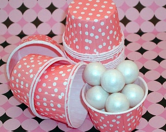 Pink Polka Dot Nut Cups-Pink Candy/Nut Cups are perfect for filling with candy, nuts or other snacks.
