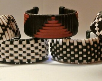 Leather Cuff Woven with Various Patterns