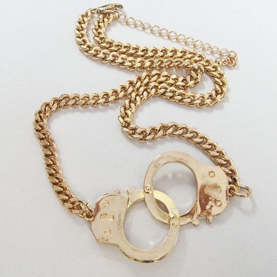 Handcuff Necklace Gold: Handcuffs Necklace / Bigger Size Handcuffs / 2 Colors / By