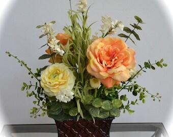 Orange Blossom & Sunshine, Silk Flower Arrangement, Spring Flowers and Summer Flowers