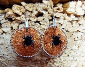 Halloween - Round earrings copper threaded - with black spider