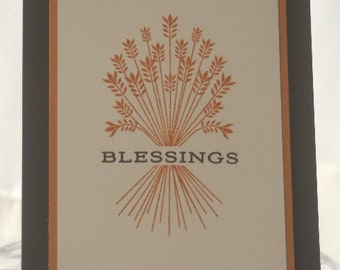 Harvest Colored Blessings Thanksgiving Card, Giving Thanks Hand Made Card, Thinking of You Card