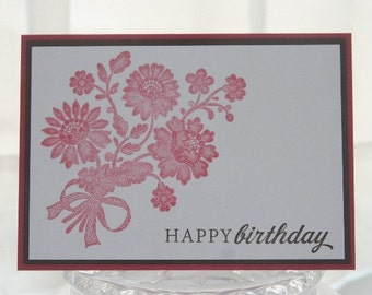 Happy Birthday Pink Lace Flowers Hand Made Card, Birthday Card for Mom, Floral Birthday
