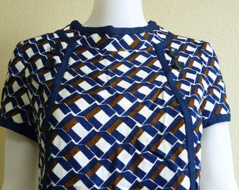 Mod Blue White Sheath Dress Medium - Knee Length 1960s Joseph Magnin