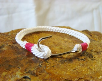 Hooked On You, White Rope With Steel Fish Hook Bracelet