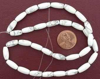 12x5 melon gemstone white howlite gem beads