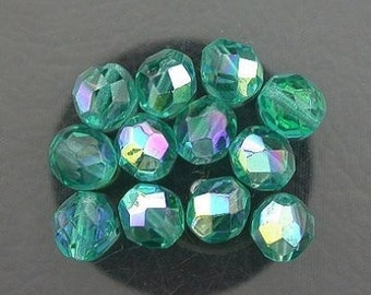 12  teal  ab czech fire crystal beads 8mm