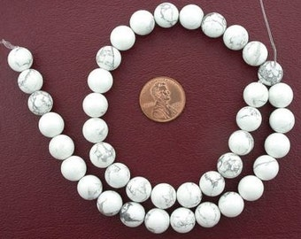10mm round gemstone white howlite beads