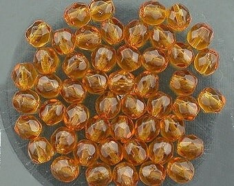 30  dark topaz czech fire crystal beads 4mm