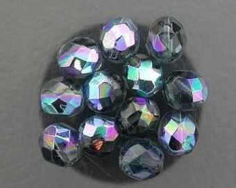 12  montana blue  ab czech fire crystal beads 8mm