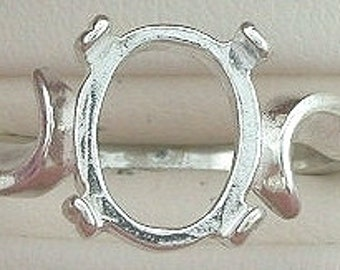 sterling silver 9x7 oval cabochon ring mounting size 7