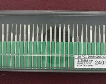 30 piece 240 grit diamond drill set lapidary tool 3/32 tk3-240