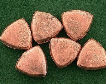 6 copper 10mm primitive triangle casted designer bead