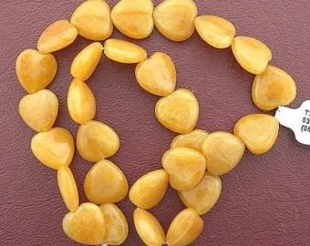 15mm puffed heart  gemstone golden jade bead