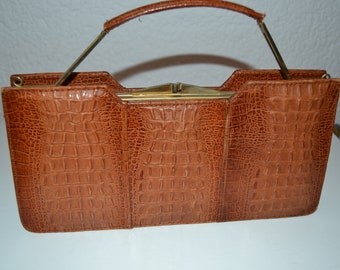 Vintage alligator, leather  60's  purse