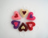Colorful hearts in red, purple, pink, mini felt hearts, birthday party favors, valentines decor, gift tags