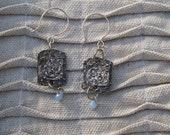 Sterling Bingo Blue Bead Earrings