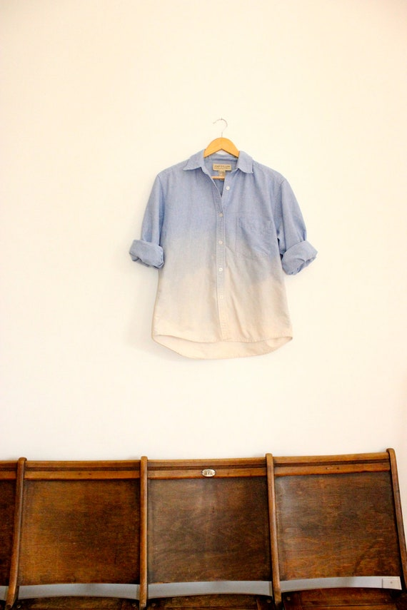 Bleached Vintage Button Up in Denim & Ombre
