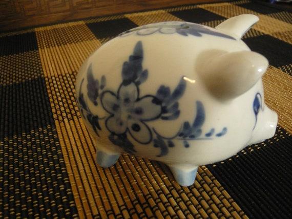 "Blue Delft Piggy Bank 3 3/4"""